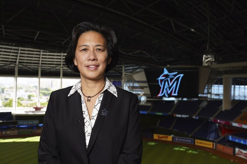 New Miami Marlins general manager Kim Ng poses for a photo at Marlins Park stadium before being introduced during a virtual news conference, Monday, Nov. 16, 2020, in Miami. Ng discussed her climb to become the first female GM in the four major North American professional sports leagues. AP, Photo Courtesy