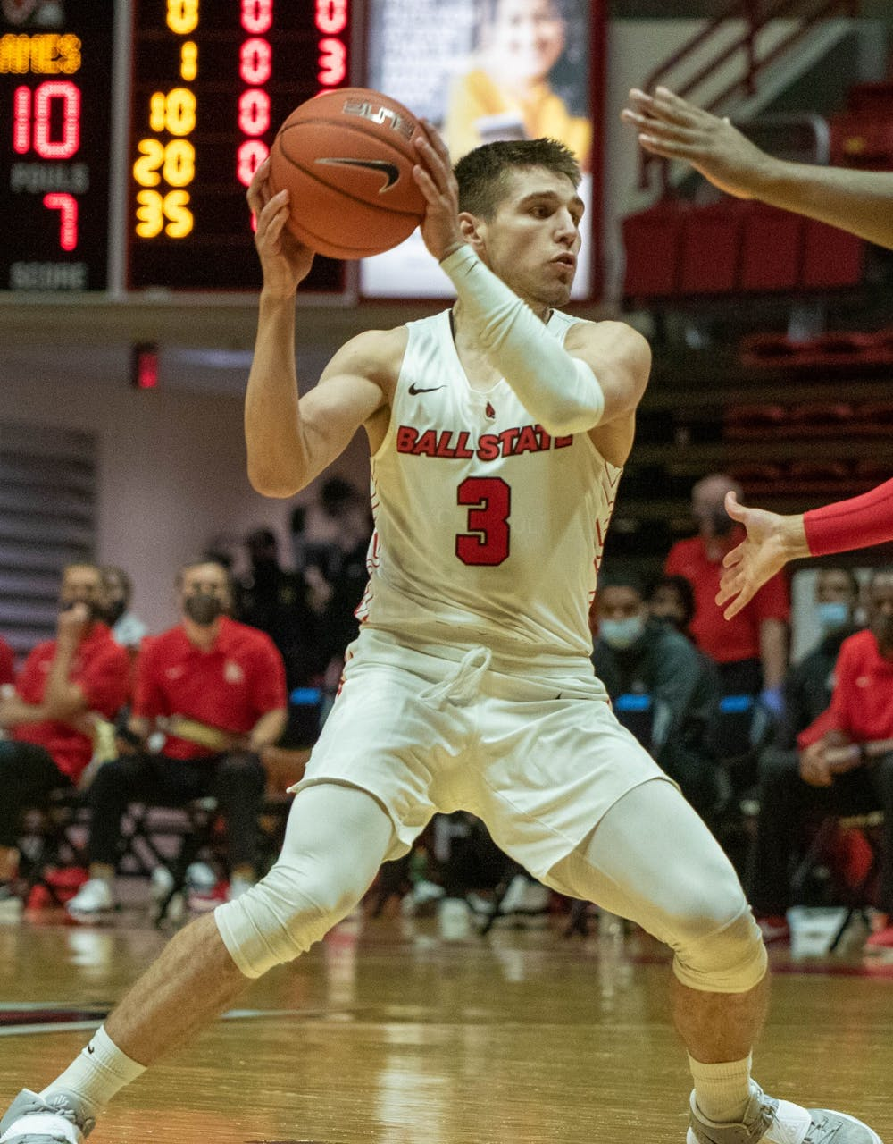 <p>Freshman guard Teemu Suokas holds the ball  Dec. 5, 2020, in Worthen Arena. Suokas had one rebound against the Flames. <strong>Jaden Whiteman, DN</strong></p>