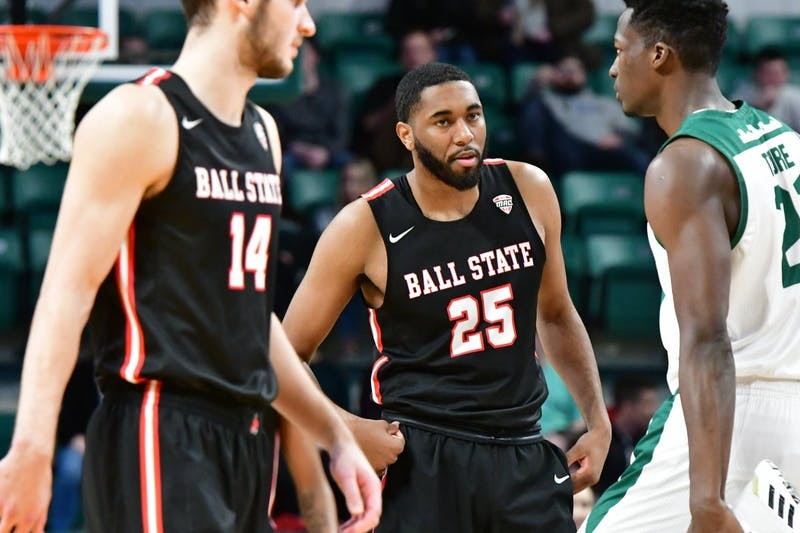 Redshirt senior forward Tahjai Teague prepares for the next play in a game against Eastern Michigan on Jan. 14 at the Convocation Center. Ball State won, 69-52. (Ball State Athletics, photo provided)