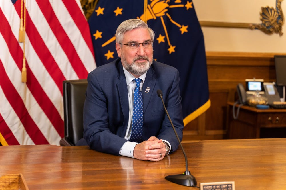 <p>Indiana Gov. Eric Holcomb speaks March 23, 2021, during a statewide address. During the address, Holcomb announced Indiana&#x27;s vaccination eligibility plans and an end date for the statewide mask mandate. <strong>Indiana Governor&#x27;s Office, Photo Provided</strong></p>