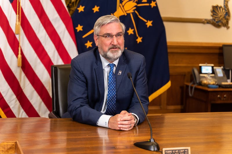 Indiana Gov. Eric Holcomb speaks March 23, 2021, during a statewide address. During the address, Holcomb announced Indiana's vaccination eligibility plans and an end date for the statewide mask mandate. Indiana Governor's Office, Photo Provided