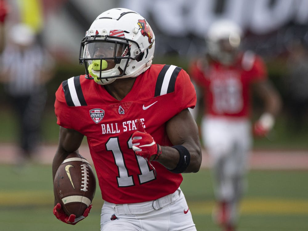 Cardinals fifth-year senior wide receiver Justin Hall runs in the open field on the opening kickoff for a touchdown Oct. 2, 2021, at Scheumann Stadium. The Cardinals beat the Black Knights 28-16. Jacob Musselman, DN
