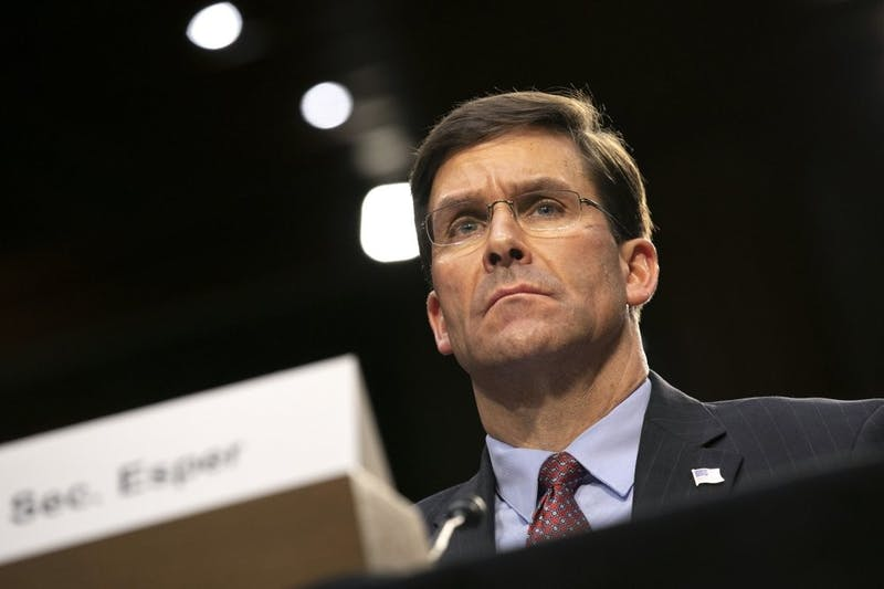 """Defense Secretary Mark Esper testifies to the Senate Armed Services Committee about the budget, Wednesday, March 4, 2020, on Capitol Hill in Washington. An uptick in Taliban attacks against Afghan forces that prompted a retaliatory U.S. airstrike has underscored the fragility of the peace deal between the Trump administration and the group. Esper told the Senate hearing that the Taliban are honoring the agreement by not attacking U.S. and coalition forces, """"but not in terms of sustaining the reduction in violence."""" (AP Photo/Jacquelyn Martin)"""