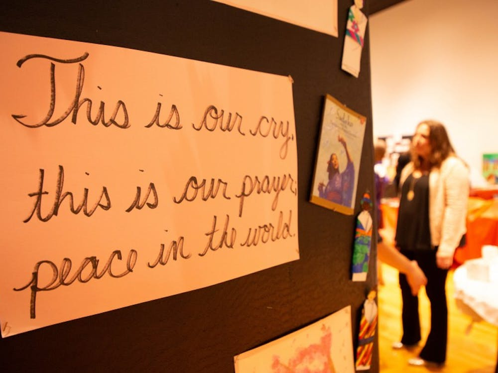 "A haiku written for Kristie Houston's third grade Expanded Learning Program class is displayed during Celebrate Excellence May 16, 2019, at Minnetrista. The haikus written for Houston's class were either from or based on the book ""Sadako and the Thousand Paper Cranes."" Rohith Rao, DN"