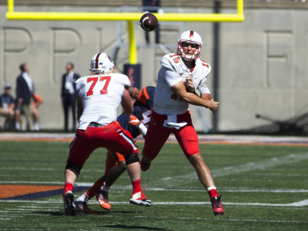 Ball State quarterback Riley Neal throws a pass during the first quarter against the University of Illinois on Setp. 2, 2017. Neal finished the season opener with 204 passing yards and a touchdown. Robby General, DN
