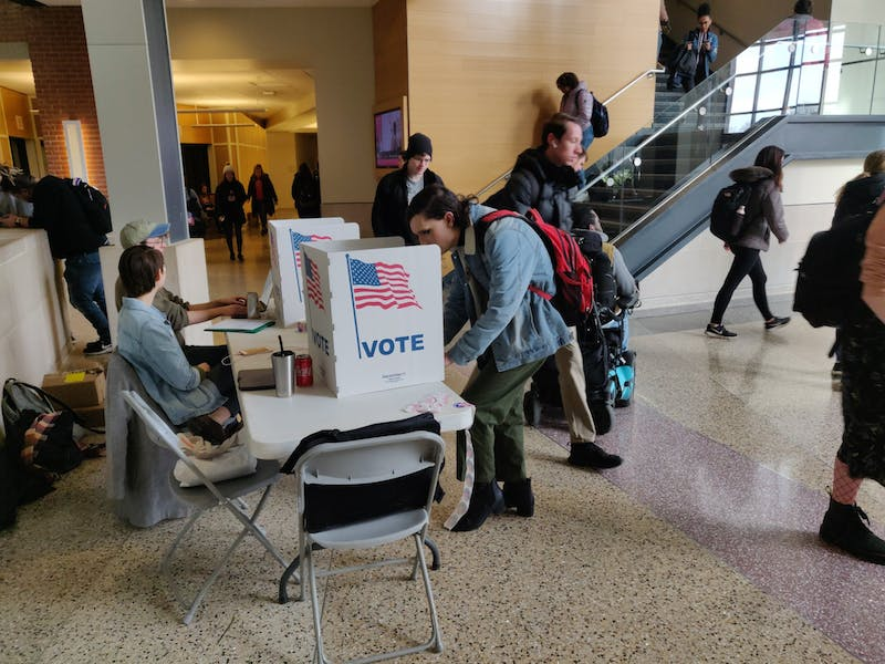 A Ball State student votes at the on-campus polling location Feb. 17, 2020, at the Letterman Building's lobby. Voting for the Student Government Association election will run until 5 p.m. Feb. 18, 2020. Rohith Rao, DN