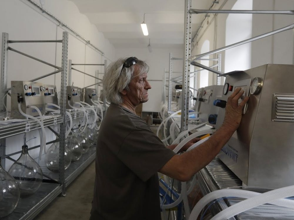 "A worker checks a lung ventilator ""Corovent"" June 17, 2020, manufactured in Trebic, Czech Republic. A group of volunteers in the Czech Republic was working round the clock to prevent critical shortage of ventilators for COVID-19 patients. (AP Photo/Petr David Josek)"