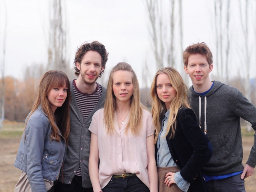 "Members of the group ""The 5 Browns"" pose for album cover. The five are siblings who all studied at Juilliard and released their first album in 2005. ""The 5 Browns,"" Photo provided."