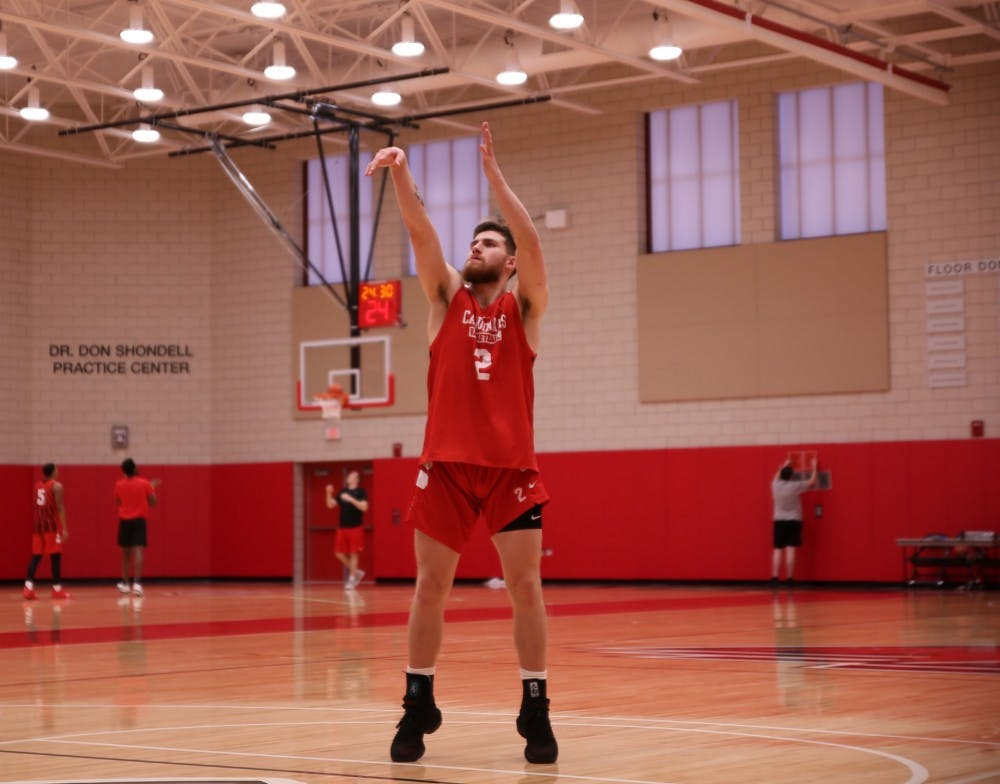 Redshirt senior guard Tayler Persons shoots free throws to cool down during a practice at Dr Don Schondell Practice Center on Nov 29, 2018. Jack Williams,DN