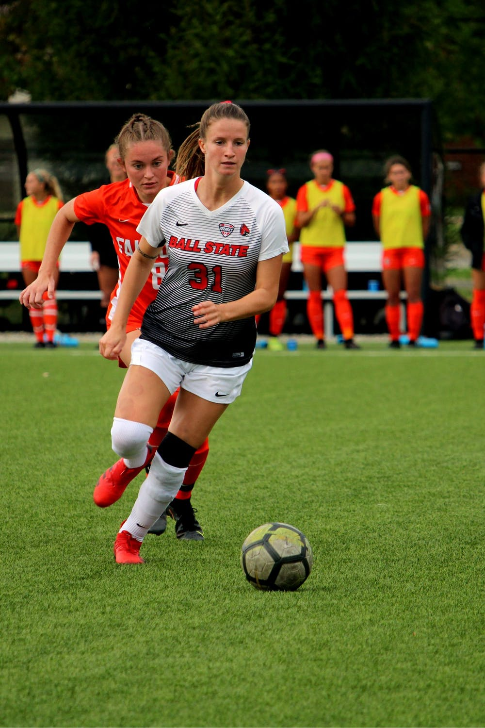Senior Tatiana Mason goes for the ball agaisnt Bowling Green on Oct. 7, 2021, at Briner Sports Complex in Muncie, IN. Amber Pietz, DN