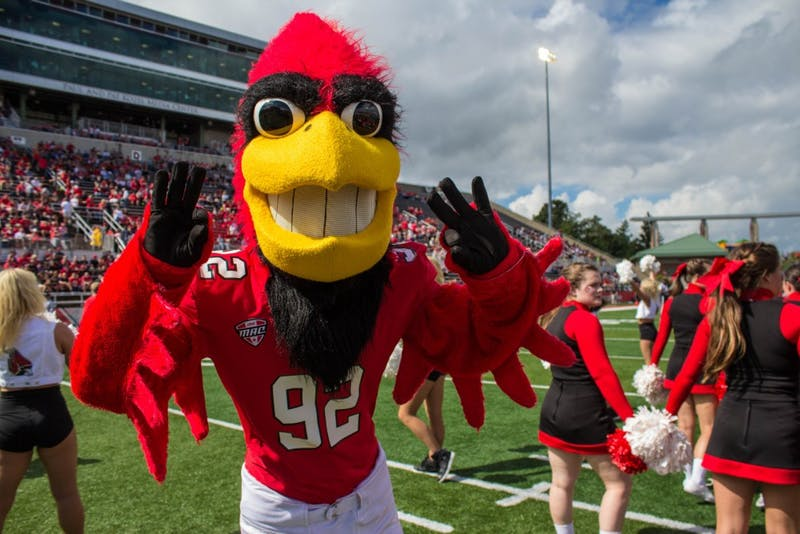 Charlie Cardinal welcomes the Cardinals onto the field at the beginning of the home opener game against Eastern Kentucky on Sept. 17 in Scheumann Stadium. Ball State won 41-14. Grace Ramey // DN