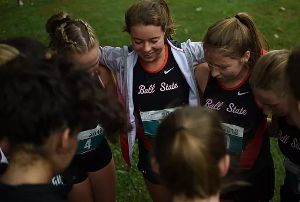 <p>The Ball State Run Club women&#x27;s team meets up before a cross country race. Hollyn Anderson, vice president of the Run Club, said she enjoys the environment of the races, and likes that it isn&#x27;t as much of a commitment level as the official Ball State cross country and track team. <strong>Zack DeSimone, Photo Provided</strong></p>