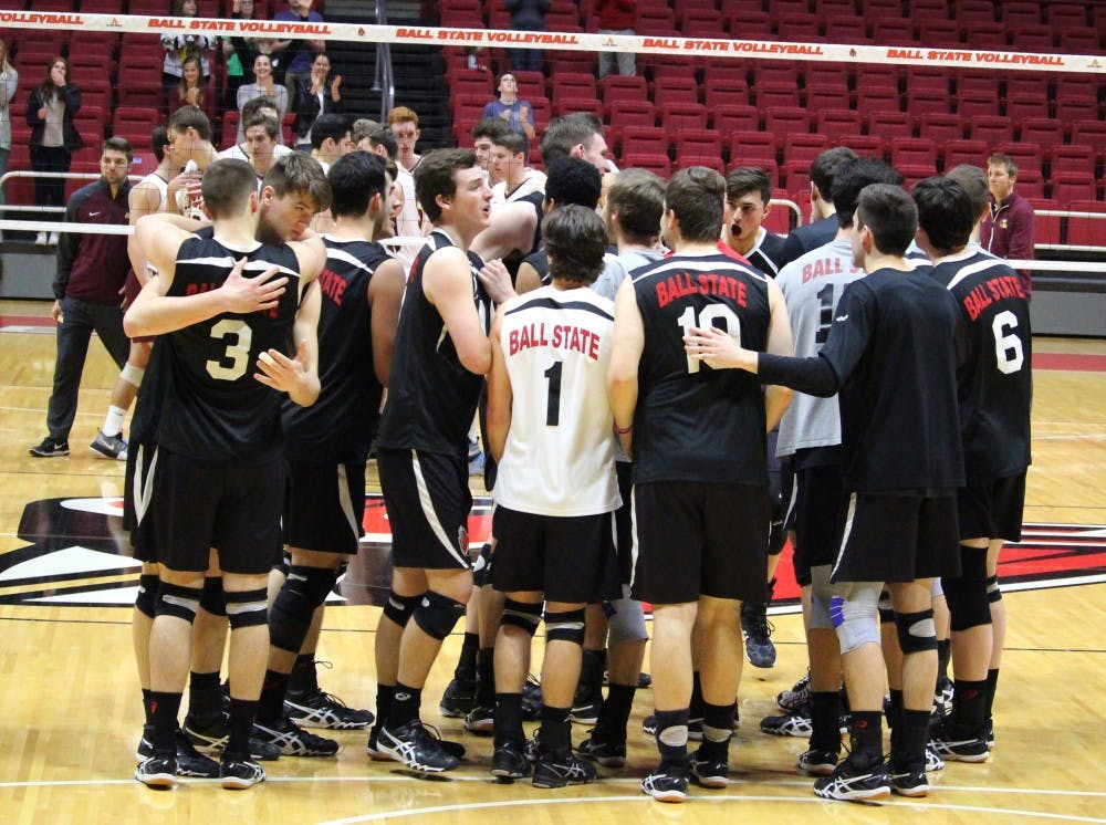Ball State Men's Volleyball team celebrates the win over No. 10 Loyola-Chicago in John E. Worthen Arena on April 8. The team secured the 4 seed in the MIVA Tournament by sweeping the Ramblers and winning by 19 points. Alicia M. Barnachea // DN