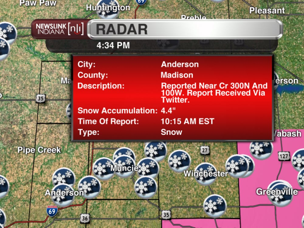 "Snowfall report of 4.4"" from Anderson in Madison county."