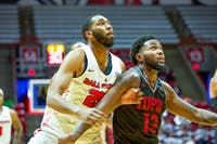 Redshirt Senior Forward, Tahjai Teague (25), looks on in an attempt to grab a rebound over a defender against , IUPUI Dec 7, 2019, in John E. Worthen Arena. The Cardinals beat the Jaguars in a blowout victory 102-54. Omari Smith, DN