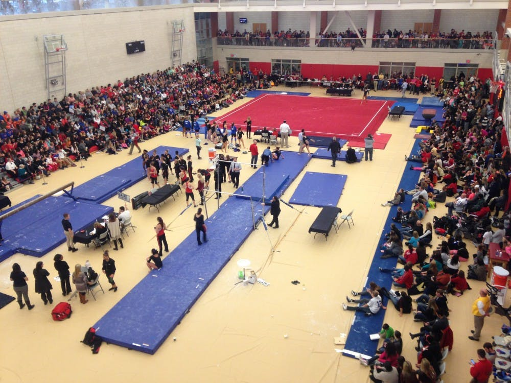 Ball State gymnastics received a record attendance with 1,564 people for their meet against Florida on Jan. 11 at Irving Gymnasium. DN PHOTO KAITLIN LANGE