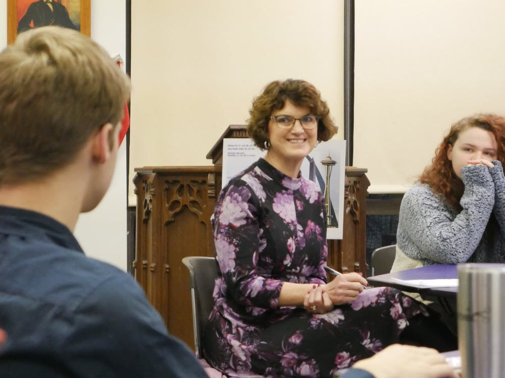 Lee Ann Kwiatkowski, director of public education and CEO of Muncie Community Schools (MCS), speaks with the Student Advisory Board Jan. 22, 2020, at Muncie Central High School. Kwiatkowski said she makes a point to speak with a variety of stakeholders throughout MCS and the Muncie community to make sure she is serving the schools in every way she can. Jake Helmen, DN
