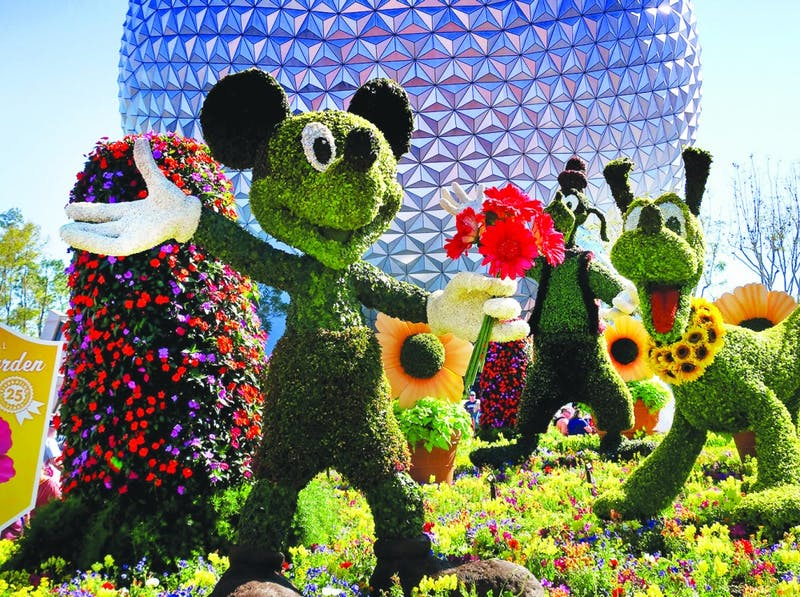 "Mickey, Goofy and Pluto are among the topiaries that welcome guests at the entrance of the 2018 Epcot International Flower & Garden Festival, March 2018. ""Entrepreneurship A Disney Way"" was written by Michael Goldsby and Rob Matthews, directors at the institute for entrepreneurship and free enterprise at Ball State. Joe Burbank, TNS PHOTO"