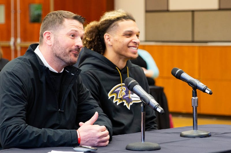 "Willie Snead IV, Baltimore Ravens wide receiver and Ball State alumnus, listens as members of the Board of Trustees speak at the Board of Trustees meeting March 29, 2019, in the ballroom of the L. A. Pittenger Student Center. Snead said coming back to Ball State ""feels like home."" Jacob Musselman, DN"