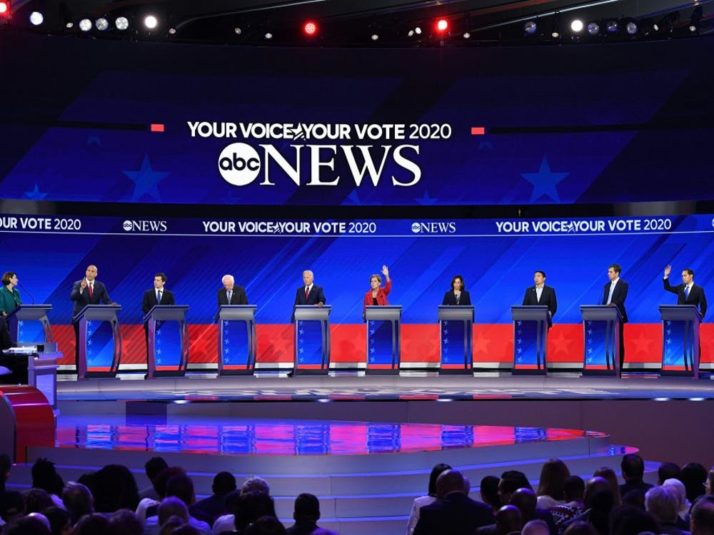 Democratic presidential hopefuls (L-R) Senator of Minnesota Amy Klobuchar, Senator of New Jersey Cory Booker, Mayor of South Bend, Indiana, Pete Buttigieg, Senator of Vermont Bernie Sanders, Former Vice President Joe Biden, Senator of Massachusetts Elizabeth Warren, Senator of California Kamala Harris, Tech entrepreneur Andrew Yang, Former Representative of Texas Beto O'Rourke and Former housing secretary Julian Castro speak during the third Democratic primary debate of the 2020 presidential campaign season hosted by ABC News in partnership with Univision at Texas Southern University in Houston, Texas on September 12, 2019. (Robyn Beck/AFP/Getty Images/TNS)