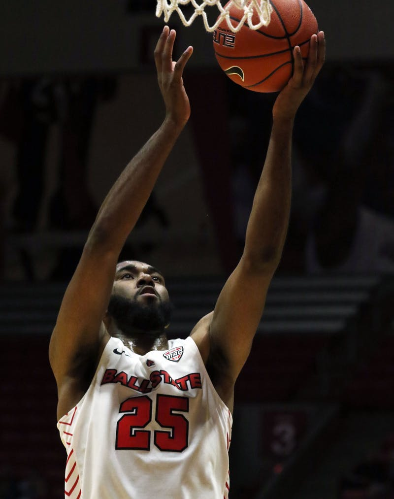 Ball State redshirt senior forward Tahjai Teague goes for a layup during the Cardinals' game against Defiance Tuesday, Nov. 5, 2019 at John E. Worthen Arena. Teague scored 11 points. Paige Grider, DN