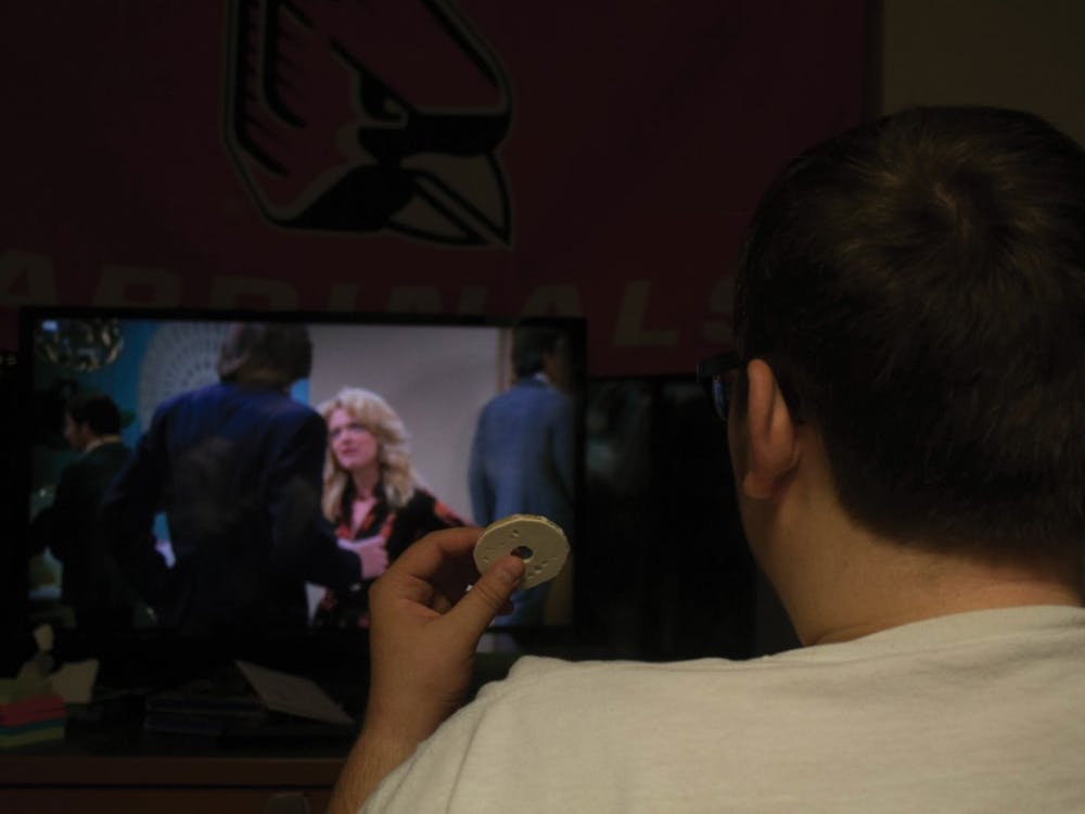 Freshman Jacob Samuelson, watches That 70's Show, Monday, Sept. 10, 2018, in Botsford/Swinford Hall. Ball State plans to get rid of campus cable. Alex Straw,DN