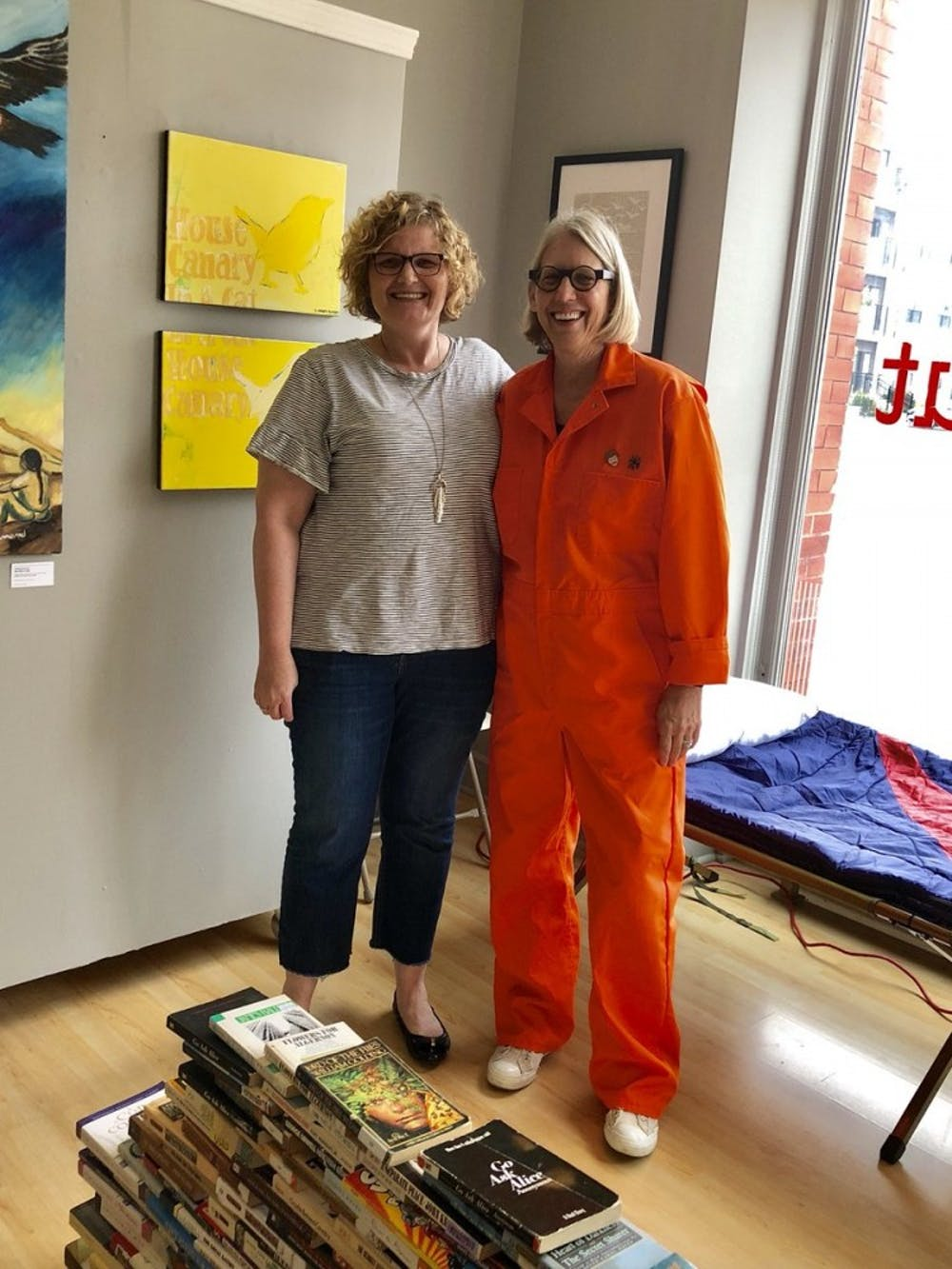 <p>Emily Pittman, a Ball State English alumna, and Rai Peterson, Ball State English professor, stand in &nbsp;the Kurt Vonnegut Museum and Library in Indianapolis September 24, 2018. Peterson is imprisoned in the library for a whole week to raise awareness for banned books. <strong>Rai Peterson, Photo Courtesy</strong></p>