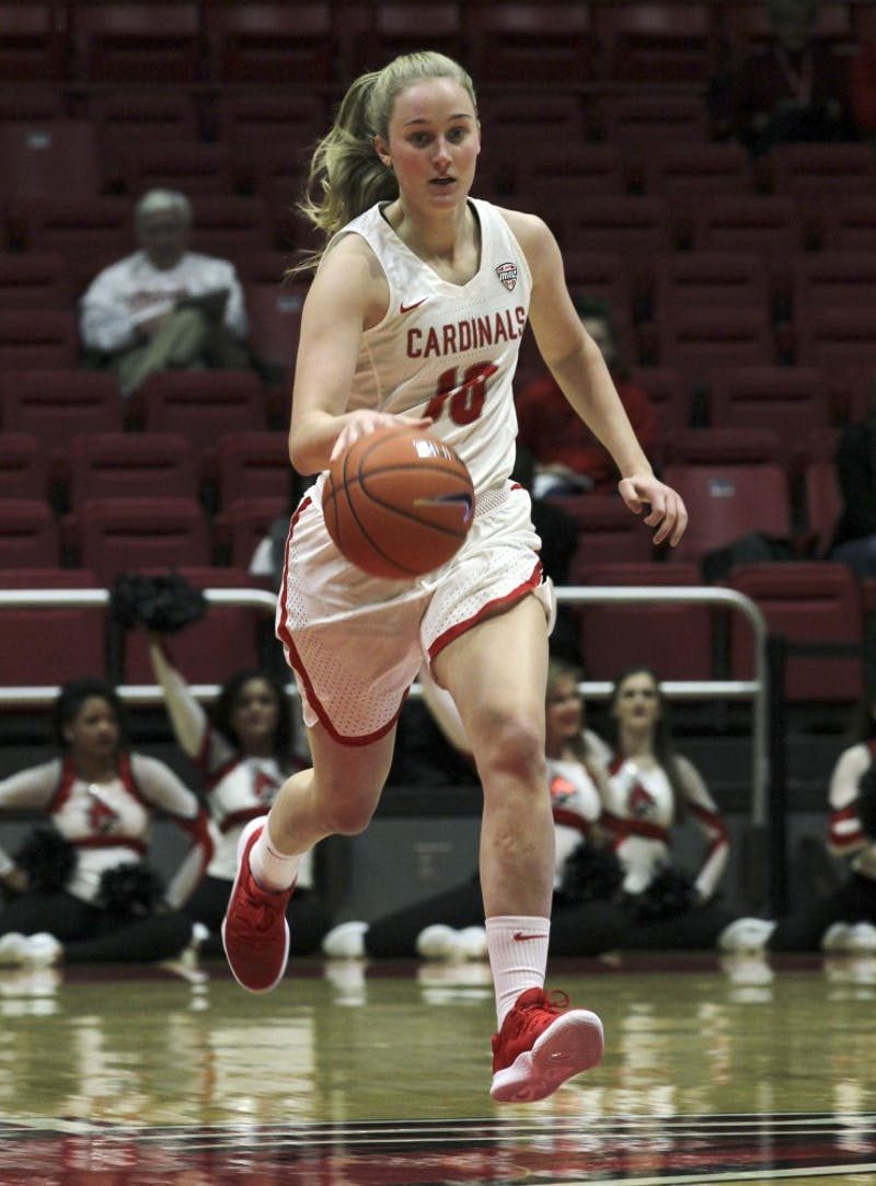 Ball State freshman forward Thelma Dis Agustsdottir brings the ball down the court during the Cardinals' game against Cleveland State University's Nov. 11, 2018 in John E. Worthen Arena. Dis Agustsdottir scored 11 points. Paige Grider, DN