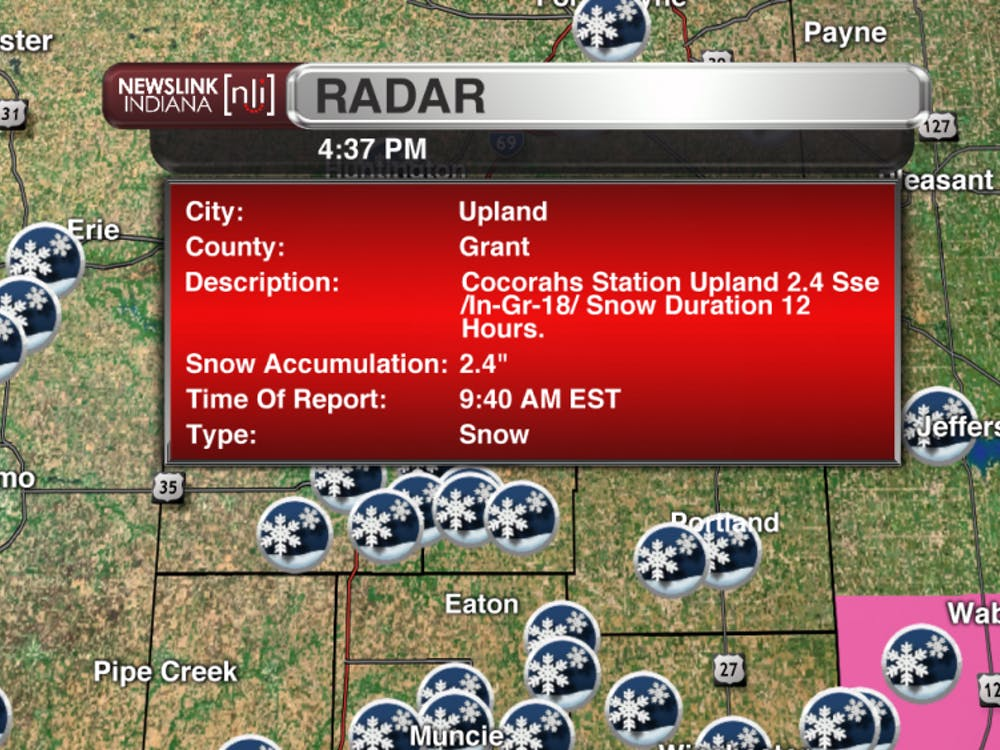 "Snowfall report of 2.4"" from Upland in Grant county."