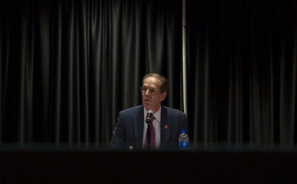 <p>Ball State President Geoffrey Mearns proposes an extension to Beth Goetz's contract at the Board of Trustees meeting July 1, 2021. Goetz&#x27;s contract was extended through June 2027. <strong>Lauren Clark, DN</strong></p>