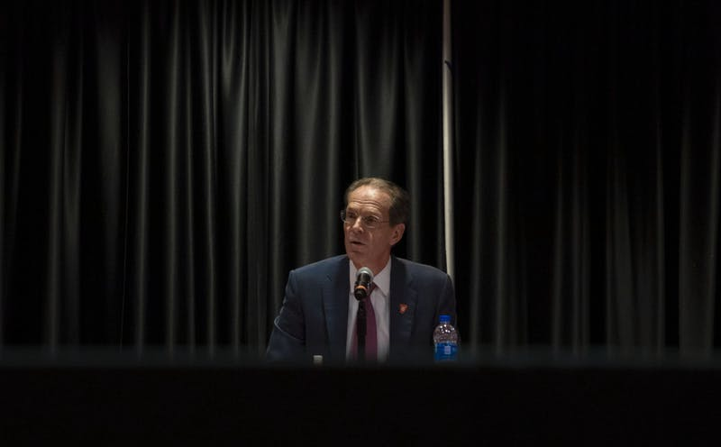 Ball State President Geoffrey Mearns proposes an extension to Beth Goetz's contract at the Board of Trustees meeting July 1, 2021. Goetz's contract was extended through June 2027. Lauren Clark, DN