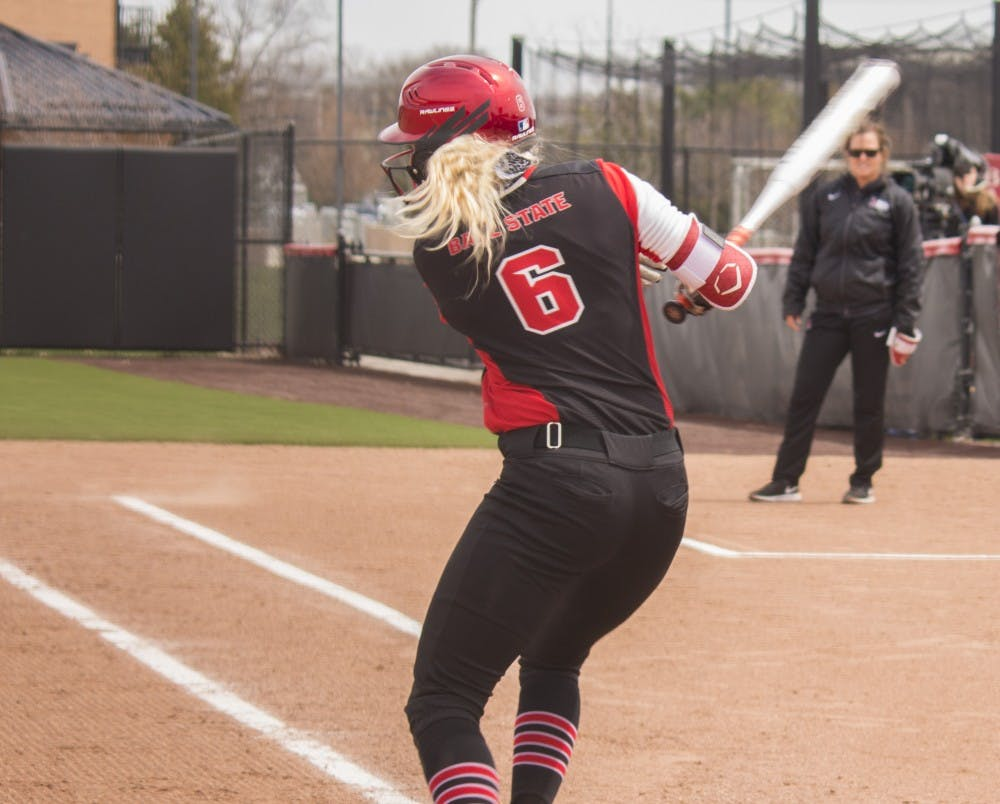 <p>Ball State senior Cadie O'Donnell hits the ball during the first game against Central Michigan April 21 at the softball field at First Merchant's Ballpark Complex. <strong>Briana Hale, DN</strong></p>