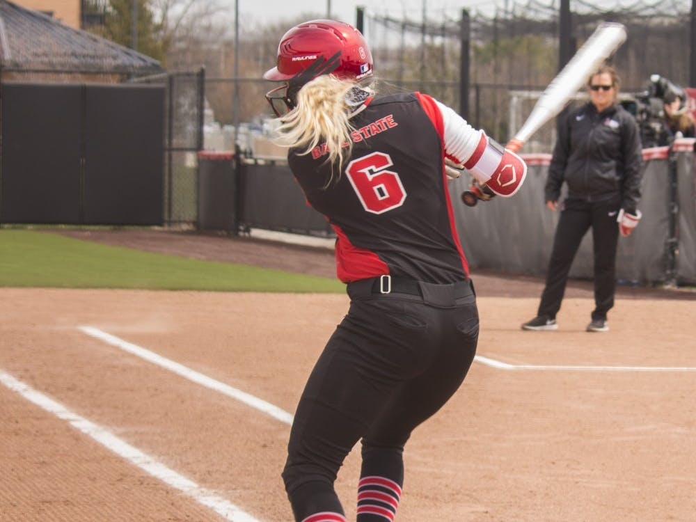 Ball State senior Cadie O'Donnell hits the ball during the first game against Central Michigan April 21 at the softball field at First Merchant's Ballpark Complex. Briana Hale, DN
