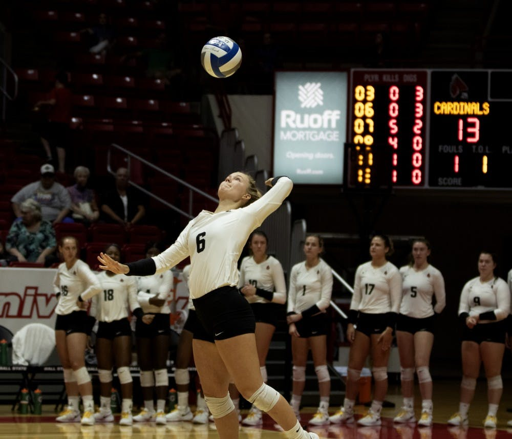 <p>Freshman defensive specialist, Maggie Huber (6), serves the ball during the second set during their match against Austin Peay on September 20, 2019, at Worthen Arena. Ball State went on to win 3-0. <strong>Jaden Whiteman, DN</strong></p>