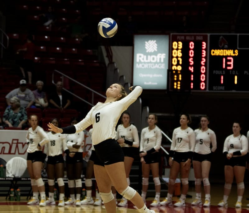 Freshman defensive specialist, Maggie Huber (6), serves the ball during the second set during their match against Austin Peay on September 20, 2019, at Worthen Arena. Ball State went on to win 3-0. Jaden Whiteman, DN