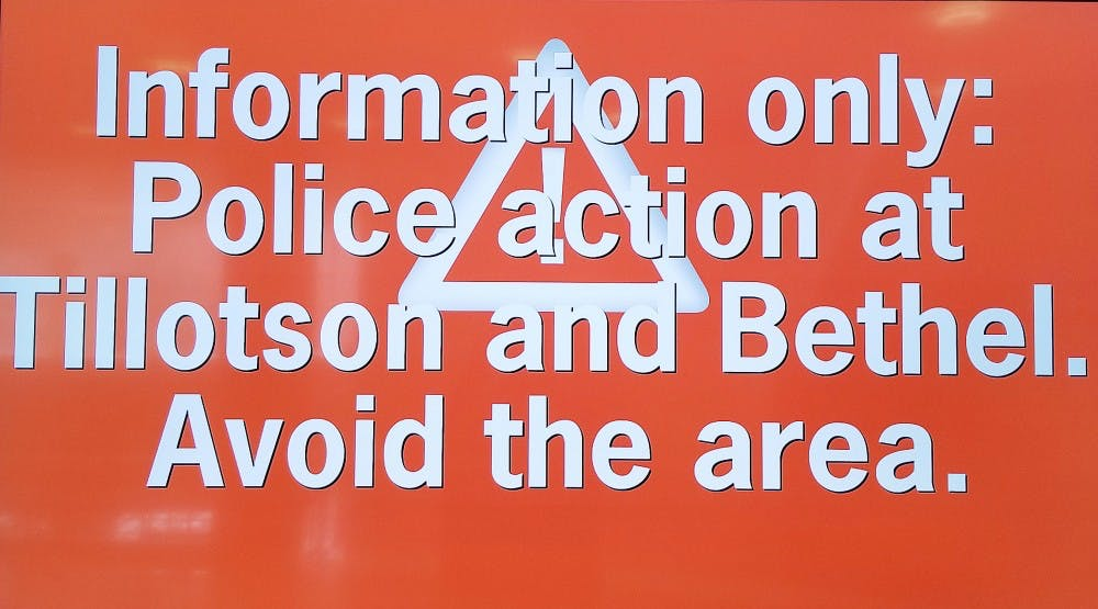 Ball State issues information alert of police action on Tillotson and Bethel