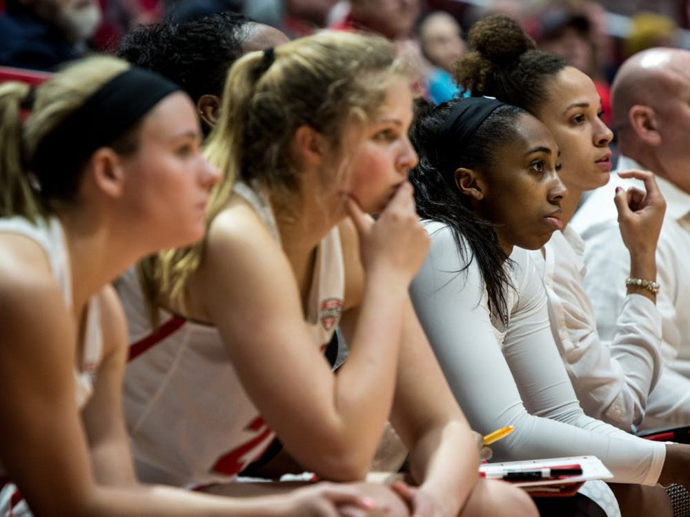 Ball State Women's basketball team watch on the bench as free throws are shot that could determine who wins the game in the fourth quarter in John E. Worthen Arena Jan. 23, 2019, in their game against Kent State. Ball State won by four points bring their season record to 7-11. Eric Pritchett,DN
