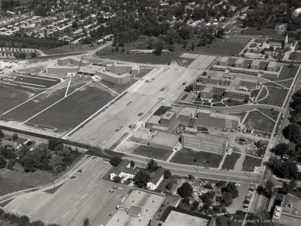 The Lost Muncie Facebook group shares an aerial photo of Ball State's Teacher's College in September of 1962. The group was created eight years ago toallow community members to share memories, learn more and reminisce about the city. Jeff Koenker// Photo Provided