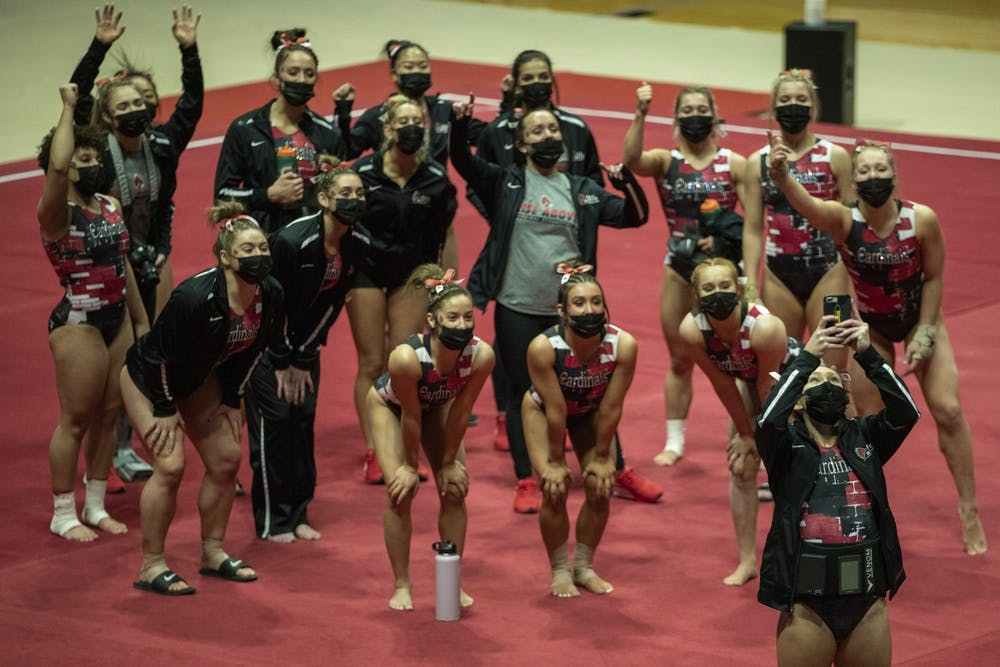 <p>The Ball State Gymnastics team takes a team selfie before facing the Central Michigan Chippewas in their home-opener Jan. 24, 2021, at John E. Worthen Arena. The Cardinals beat the Chippewas 193.500-192.375. <strong>Jacob Musselman, DN</strong></p>