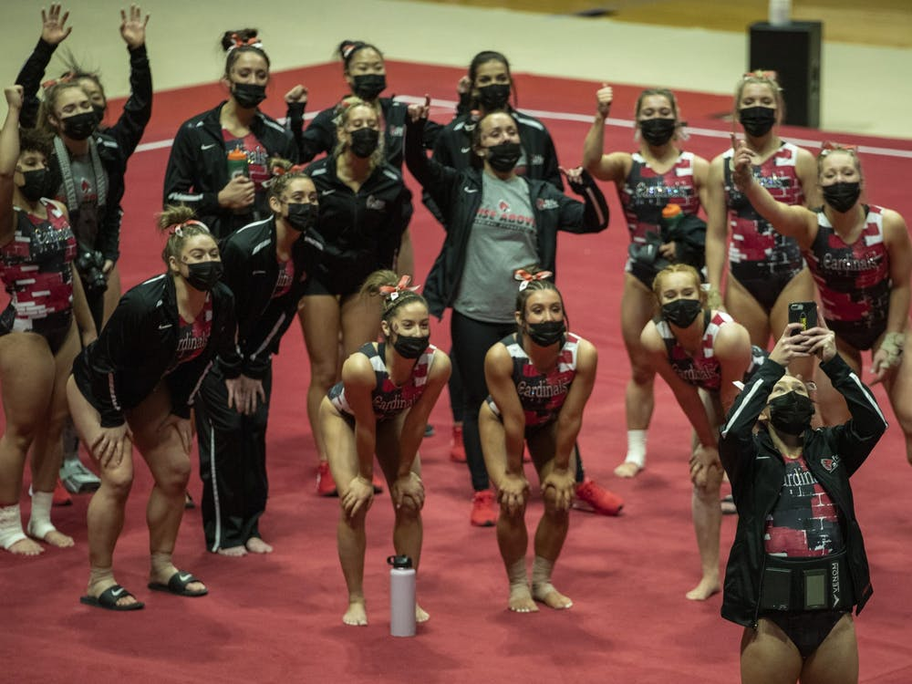 The Ball State Gymnastics team takes a team selfie before facing the Central Michigan Chippewas in their home-opener Jan. 24, 2021, at John E. Worthen Arena. The Cardinals beat the Chippewas 193.500-192.375. Jacob Musselman, DN