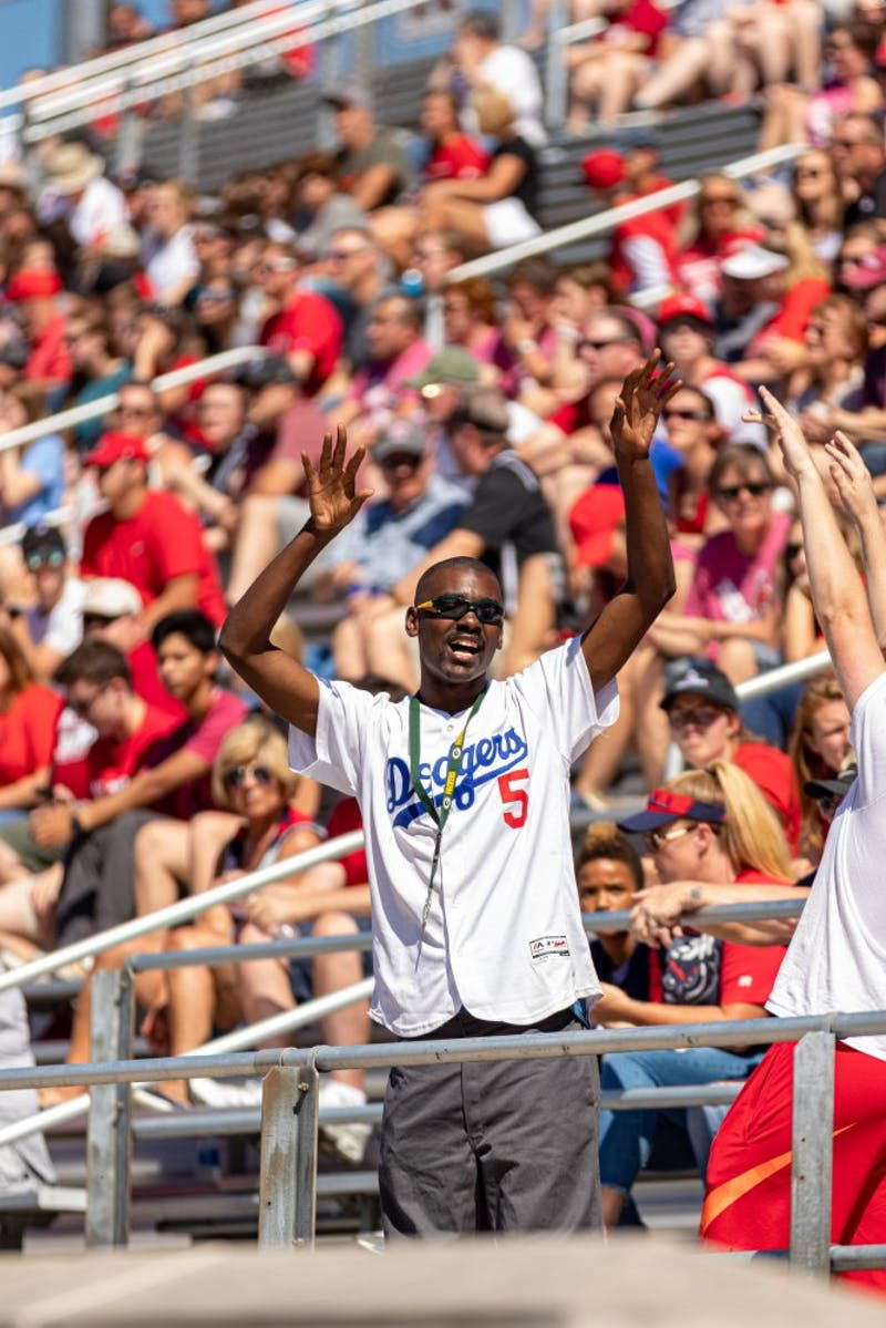 Ball State fan, Sam Nealy cheers on the Cardinals as they play Florida Atlantic. FAU went on to defeat Ball State 41-31, Sept. 14, 2019. Paul Kihn, DN