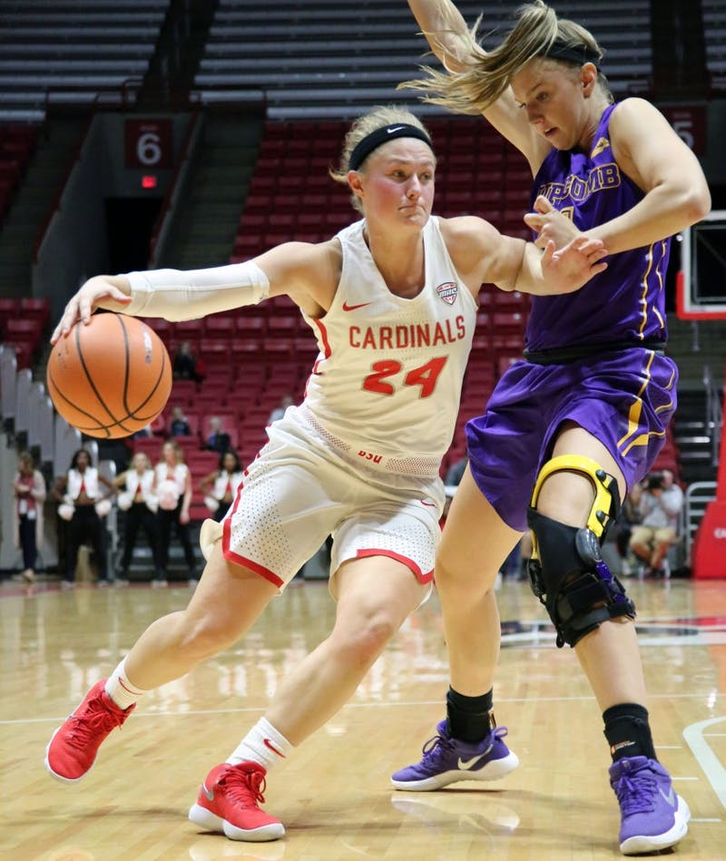 Ball State junior guard Jasmin Samz drives the ball in during the Cardinals' game against Lipscomb on Nov. 15 in John E. Worthen Arena. Ball State won 84 to 46. Paige Grider, DN