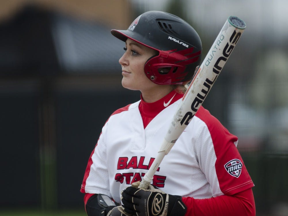Junior outfielder Cadie O'Donnell prepares for her turn at bat during the second game of the double-header against Northern Illinois on April 4 at the Softball Field at the First Merchants Ballpark Complex. Ball State won the game 6-4. Emma Rogers // DN