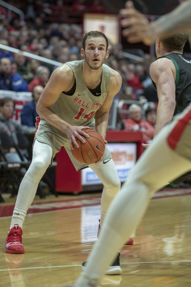 Junior Kyle Mallers looks for a pass at John E. Worthen Arena against Ohio University on Jan.12, 2019. Mallers had three points and four rebounds for the Cardinals. Jacob Haberstroh,DN.