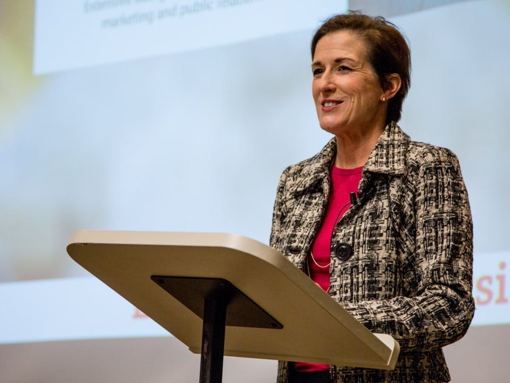 Ball State's First Lady Jennifer Mearns spoke about her experience in public relations in AJ 175 on Jan. 18. Mearns graduated from Bryant College in Rhode Island before moving to New York where she got her first job. Kaiti Sullivan, DN