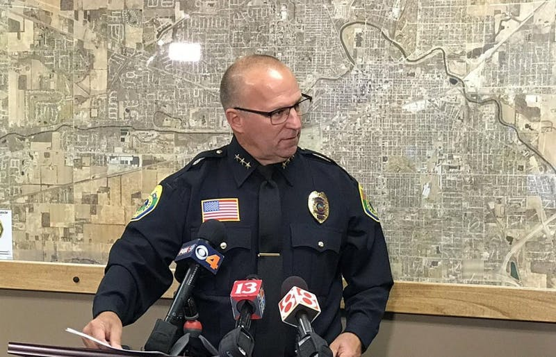 Muncie Police Chief Joe Winkle held a press conference noon, Friday at city hall. Andrew Smith, DN