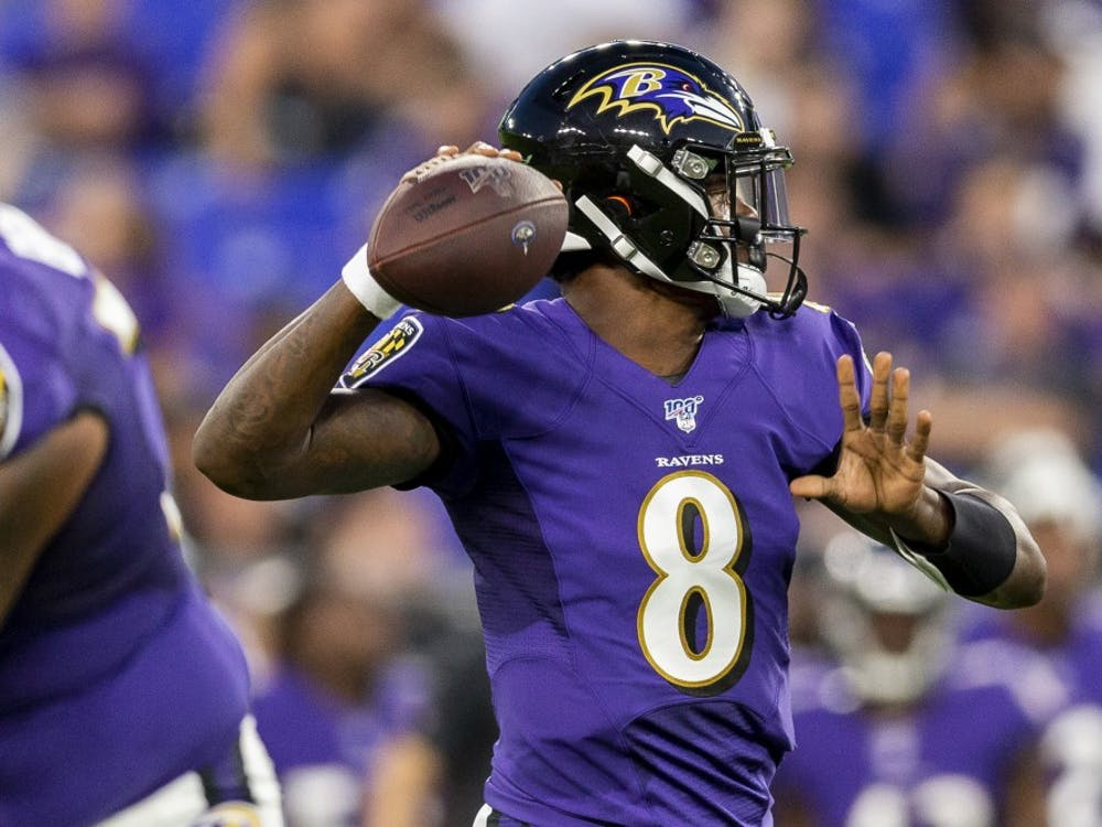 Baltimore quarterback Lamar Jackson throws during the first quarter at M&T Bank Stadium in Baltimore, MD on Aug. 8, 2019. (Joe Hermitt/pennlive.com/TNS)