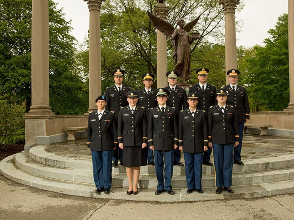 ROTC cadets gather for a photo in front of Benny. The ROTC turned 40 this month, while Ball State celebrated its centennial year. Photo provided, Ball State University