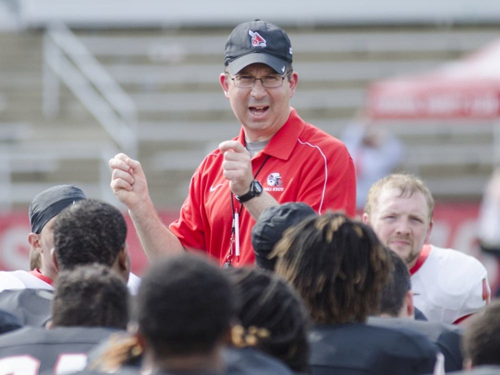 The Ball State football team hosted it's spring game on April 18 at Scheumann Stadium. Family members and friends were welcomed onto the field after the game.