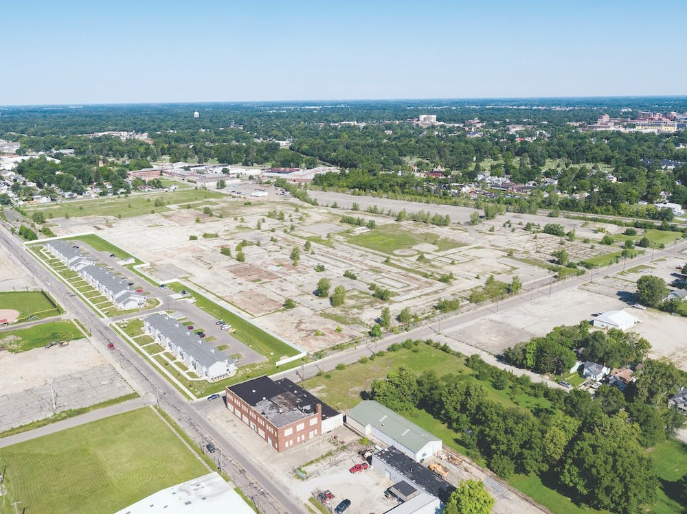 <p>An aerial shot shows the property at 1200 W. 8th St. previously owned by RACER Trust and General Electric. The City of Muncie bought this property Jan. 26, 2021 and will install a solar field on the 53 acres. <strong>City of Muncie, Photo Provided</strong></p>